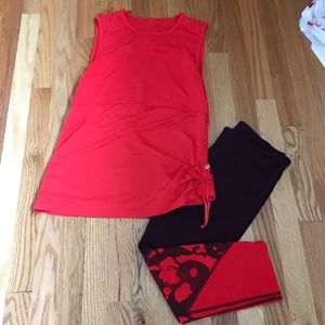 Fabletics crop tank outfit persimmon and plum